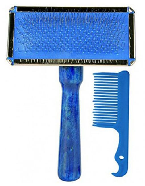 Trixie Dog and Cat Slicker Brush with Brush Cleaner - Ofypets