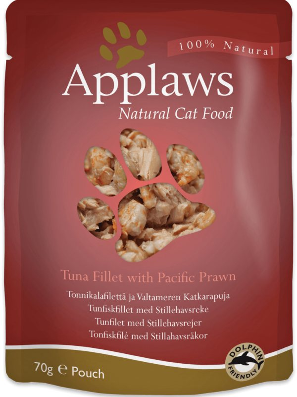 Applaws Tuna Fillet with Pacific Prawn Cat Food Pouch - Ofypets