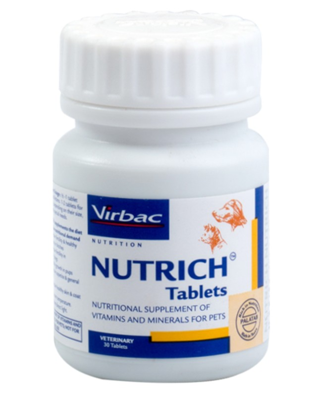 Virbac Nutrich Tablets Multivitamin and Mineral Supplement for Cats and Dogs
