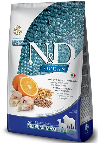 Farmina N&D Ocean Low Grain Cod, Spelt and Oats Medium and Maxi Adult Dog Food