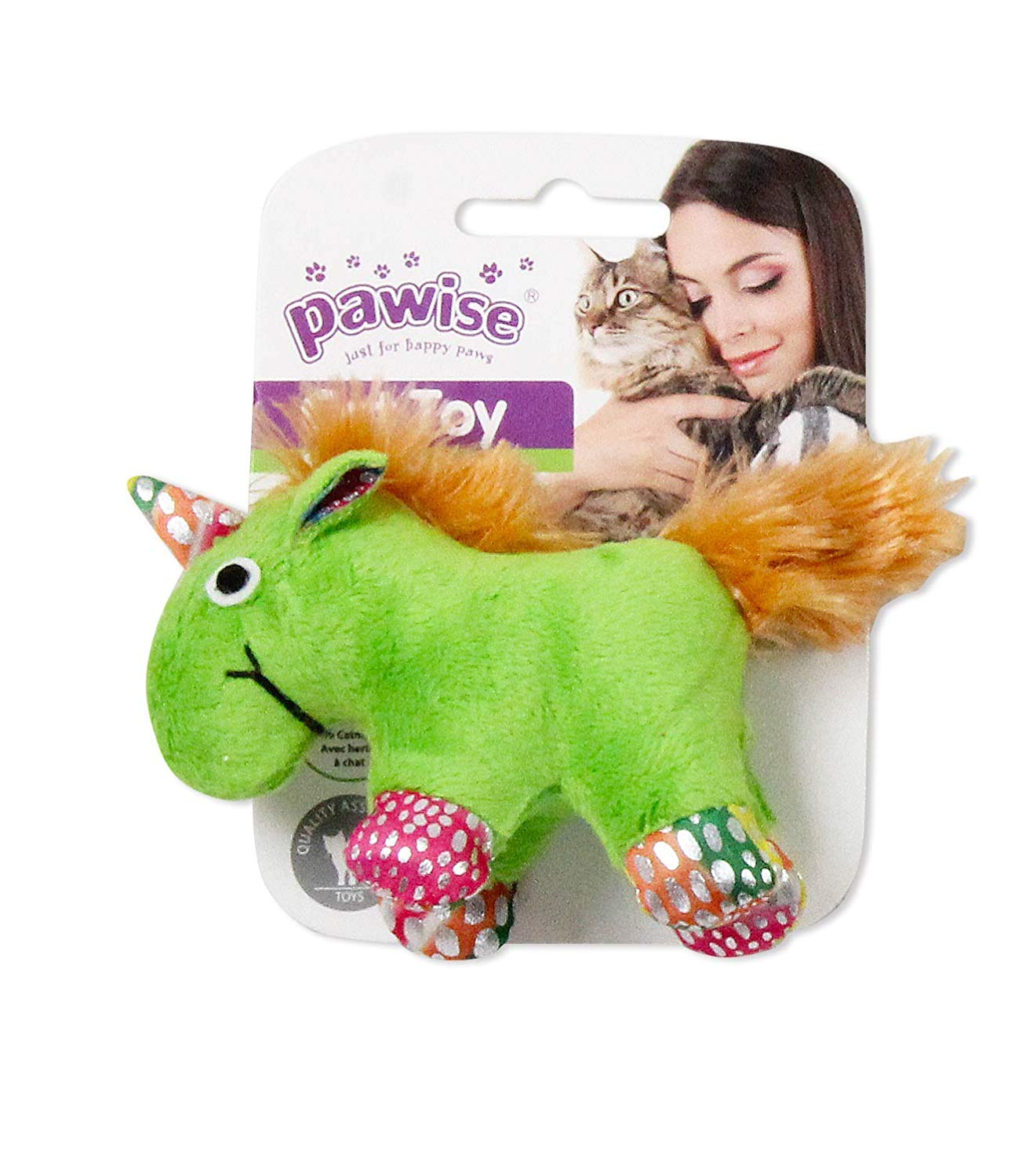 Pawise Meow Meow Unicorn Toy for Cat green - Ofypets