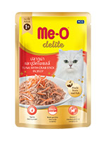 MeO Delite Wet Food Pouch, Tuna with Crab Stick in Jelly