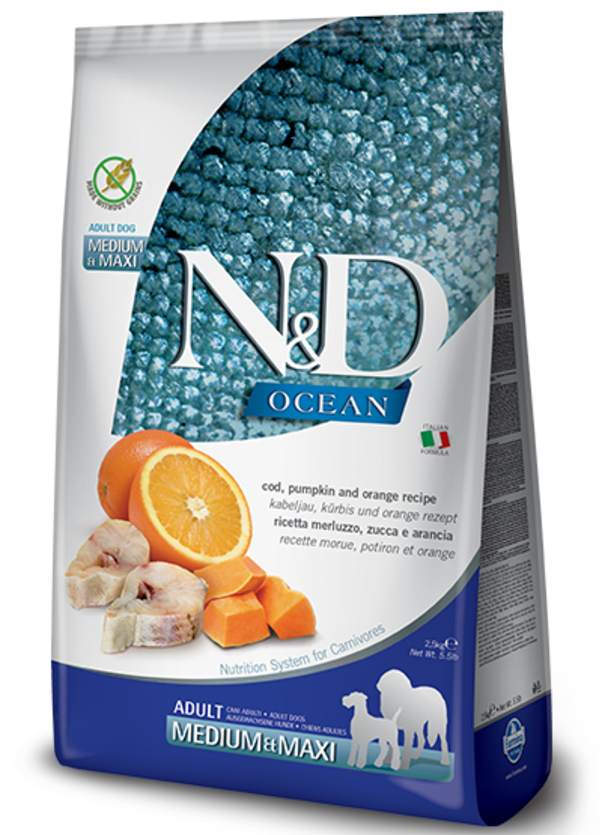 Farmina N&D Ocean Grain Free Cod, Pumpkin and Orange Medium and Maxi Adult Dog Food