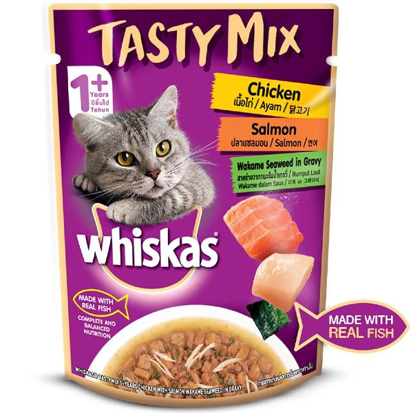 Whiskas Tasty Mix Chicken Salmon Wakame Seaweed in Gravy