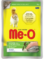 MeO Cat Sardine with Chicken and Rice Gravy in Pouch