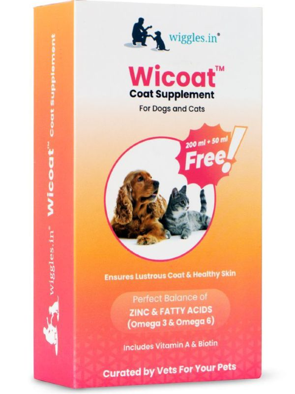 Wiggles Wicoat Omega 3, 6 Skin and Coat Supplement for Dogs and Cats