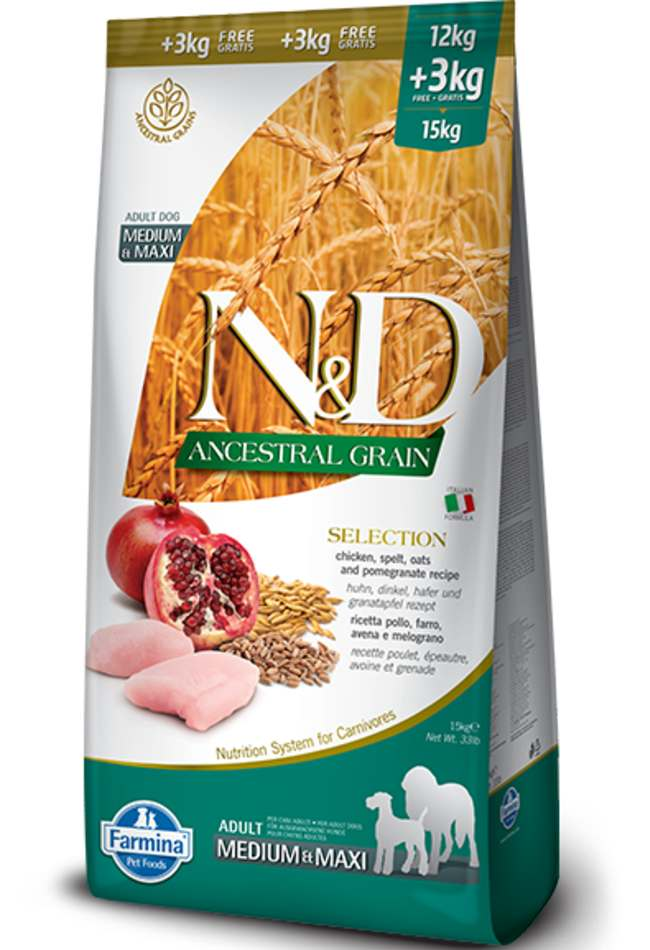 Farmina N&D Low Ancestral Grain Selection Chicken And Pomegranate Medium and Maxi Adult Dog Food 12kg + 3kg Free